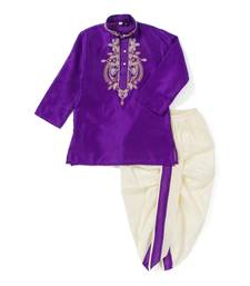 Buy Purple embroidered polyester dhoti kurta black-friday-deal-sale online