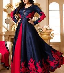 Buy Blue mirror dupion silk semi stitched salwar with dupatta anarkali-salwar-kameez online