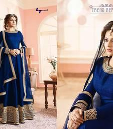 Buy Blue embroidered georgette semi stitched slawar with dupatta anarkali-salwar-kameez online