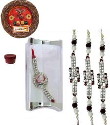 Buy Pretty of four ad and bracelet rakhis with designer thali bracelet-rakhi online