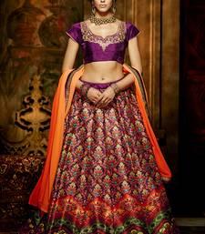 Buy Purple printed art silk unstitched lehenga pakistani-lehenga online