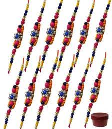 Buy One two pcs colorful beads rakhi send-rakhi-to-usa online