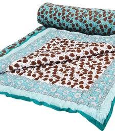 Buy Hand Block Leafy & Floral Design Reversible Jaipuri Double Bed Quilt quilt online