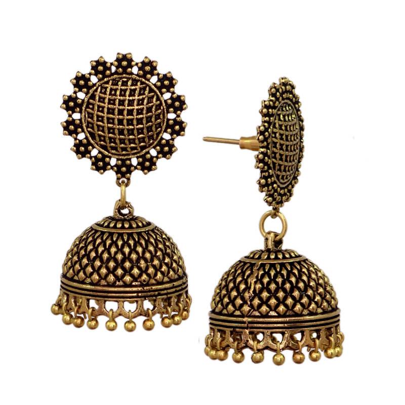 Buy Antique Women Fashion Oxidized Gold Jhumka Jhumki Earrings Online