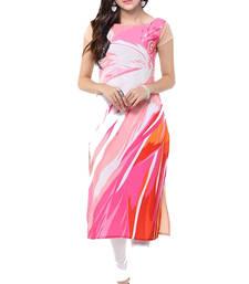 Buy Pink printed crepe kurtas-and-kurtis long-kurti online