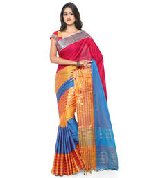Buy Multicolor hand woven cotton silk saree with blouse handloom-saree online