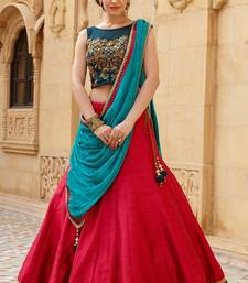 Buy Red embroidered banglori silk lehenga with choli ghagra-choli online
