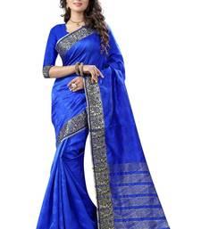 Buy Blue hand woven cotton silk saree with blouse kanchipuram-silk-saree online