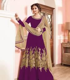 Buy Pink taffeta silk semi stitched salwar with dupatta silk-georgette-salwar online
