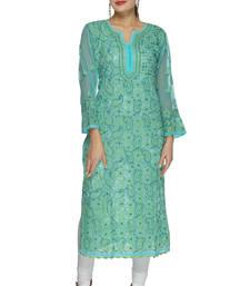 Buy Blue embroidered georgette ethnic-kurtis heavy-work-kurti online