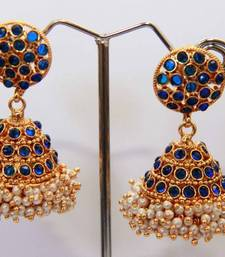 Buy  Round Stud Stone Layered Jumka - Navy Blue danglers-drop online