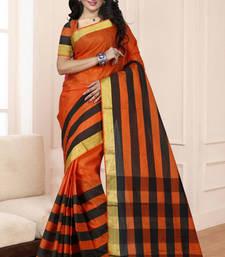 Buy orange woven cotton saree with blouse cotton-saree online