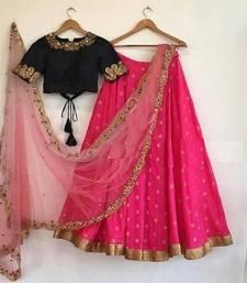 Buy Pink embroidered art silk unstitched lehenga lehenga-choli online