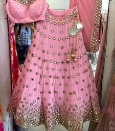 Buy Pink embroidered art silk unstitched lehenga bridal-lehenga online
