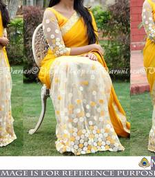 Buy Yellow embroidered georgette saree with blouse wedding-season-sale online