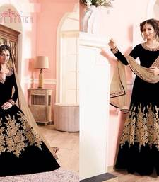 Buy Black embroidered banglori silk semi stitched salwar with dupatta dress-material online
