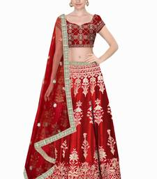 Buy red embroidered art silk semi stitched lehenga lehenga-choli online