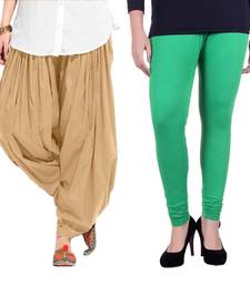 Buy Beige and Green Cotton and Lycra Patiala and Legging patiala-leggings-combo online
