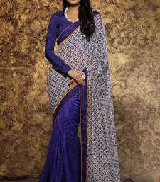 Buy Beige printed silk saree with blouse half-saree online