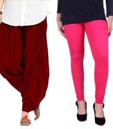 Buy Maroon and Pink Cotton and Lycra Patiala and Legging patiala-leggings-combo online