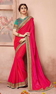 Dark pink embroidered art silk saree with blouse