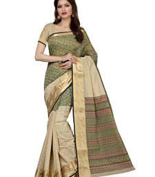 Buy Beige plain cotton saree with blouse cotton-saree online