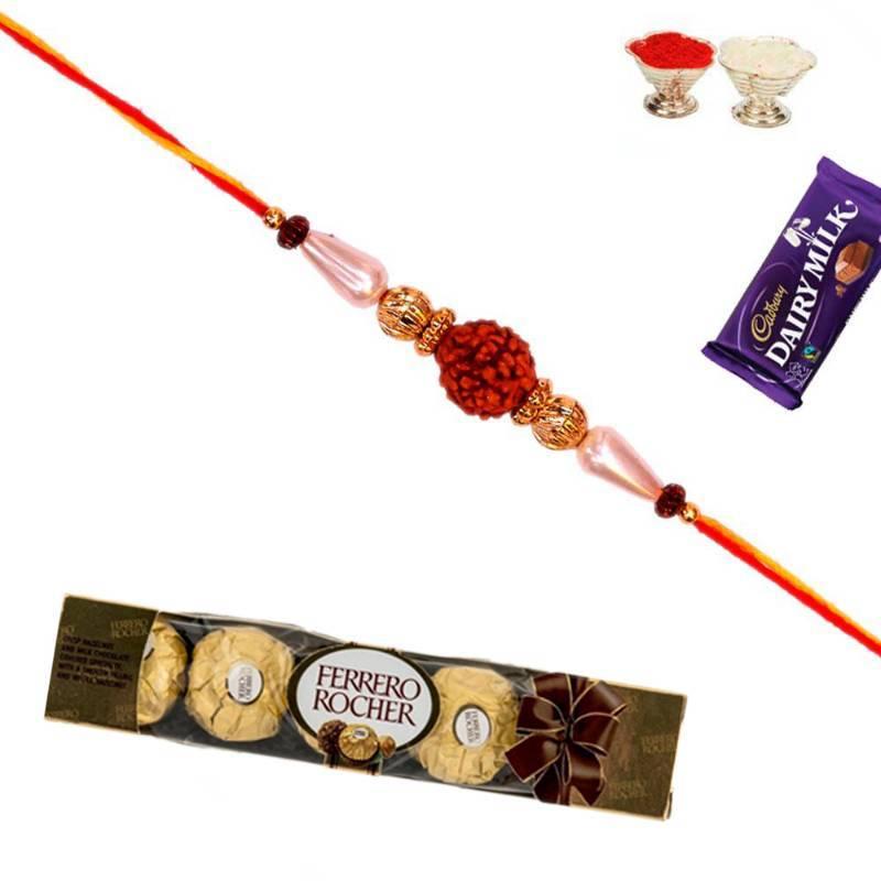 Buy Pure Rudraksh Rakhi With 5 Pc Ferrero Rocher Online