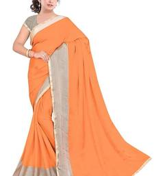 Buy Orange printed satin saree with blouse satin-saree online