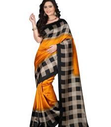 Buy Mustard printed art silk saree with blouse art-silk-saree online