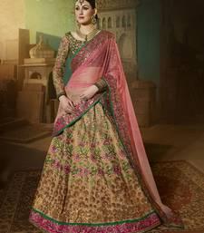 Buy Beige embroidered art silk lehenga with dupatta bridal-lehenga online