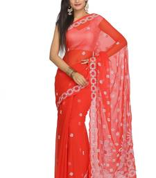 Buy Red embroidered faux georgette saree with blouse chikankari-sari online