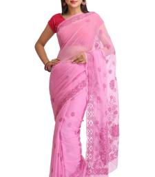 Buy Pink embroidered faux georgette saree with blouse chikankari-sari online