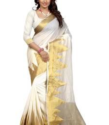 Buy White printed cotton saree with blouse kanchipuram-silk-saree online
