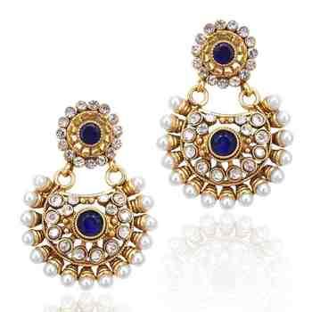 Beautiful deep blue pearl polki earring , ethnic Indian Bollywood Jewelry c435b