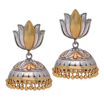 Lotus Design 2-Tone Oxidised Silver & Gold Plated Jhumki Earrings For Girls/Women