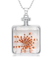 Buy Orange Dried Flower Glass Chain Gold Plated Pendant Set Pendant online