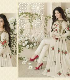 Buy White embroidered georgette unstitched salwar with dupatta anarkali-salwar-kameez online