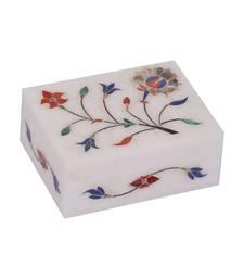 Buy Indian Art Handmade Multi Semi Perciouse Inlay Painting Work Marble Jewellery Box home-decor online