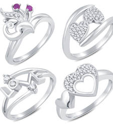 Buy Valentine Collection Stylish Rhodium Plated Combo Ring For Women Pack Of 4 Ring online