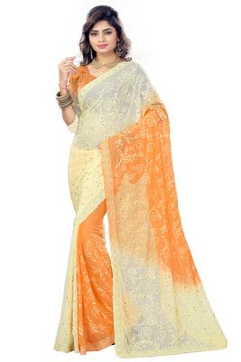 Orange embroidered nazneen saree with blouse