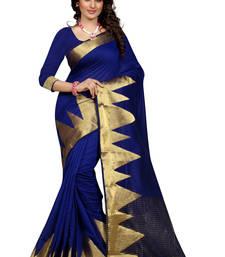 Buy Blue jacquard cotton silk saree with blouse banarasi-silk-saree online