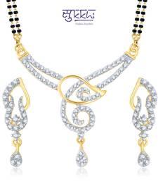 Buy Sukkhi Glistening Gold and Rhodium Plated Cubic Zirconia Stone Studded Mangalsutra Set(14011MSCZK1500) mangalsutra online