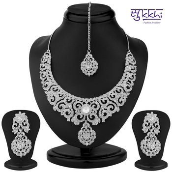 Sukkhi Ravishing Rhodium Plated Australian Diamond Necklace Set(1185VN1350)