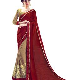 Buy maroon and beige embroidered georgette saree with blouse heavy-work-saree online