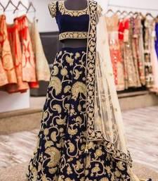 Buy Navy blue embroidered velvet unstitched lehenga wedding-season-sale online