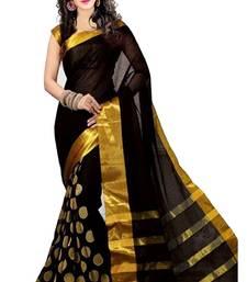 Buy black printed cotton silk saree with blouse cotton-silk-saree online