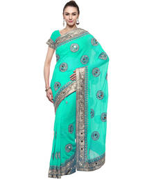 Buy Green embroidered chiffon saree with blouse diwali-discount-offer online