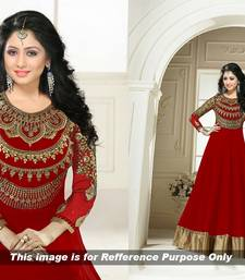 Buy Red embroidered georgette semi stitched salwar with dupatta party-wear-gown online