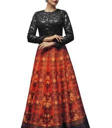 Buy Orange printed art silk unstitched lehenga lehenga-choli online