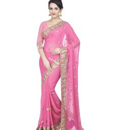 Buy Pink embroidered faux georgette saree with blouse black-friday-deal-sale online
